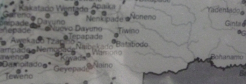 Tiweno (lower left) and Tiwino (central in photo) are two different jungle communities in Ecuador.
